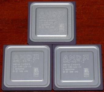 3x AMD K6-2 400MHz CPUs 400AFQ 2.2V Core 3.3V I/O Malay 1998
