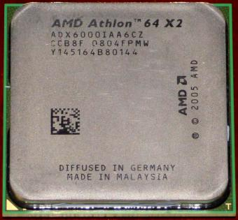 AMD Athlon 64 X2 6000+ 3GHz (ADX6000IAA6CZ) K9 Windsor L2-Cache 2x1MB Socket AM2 Germany Malaysia 2007