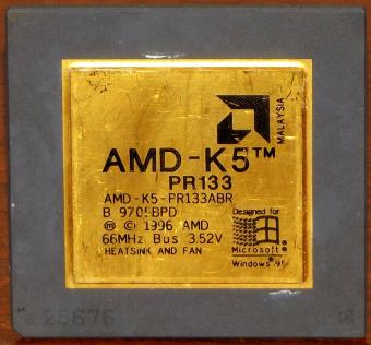 AMD K5 PR133 CPU PR133ABR 133MHz Bus 66MHz 3.52V Designed for Windows 95 Malaysia 1996