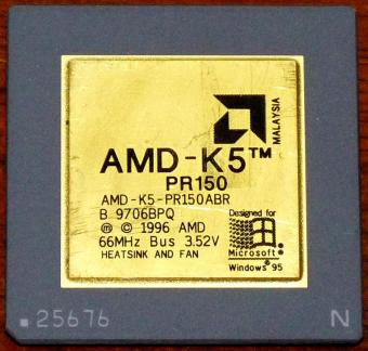 AMD K5 PR150ABR CPU 66MHz Bus 3.52V Goldcap Malysia 1996