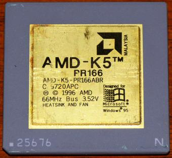 AMD K5 PR166 CPU (Goldcap) 66MHz Bus 3.52V 1996