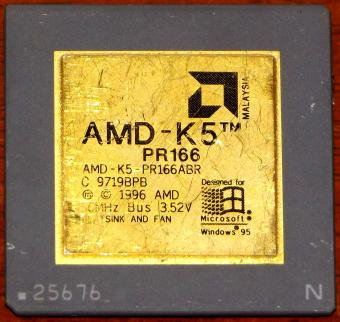 AMD K5 PR166 CPU PR166ABR 3.52V Designed for Windows 95 Malaysia 1996