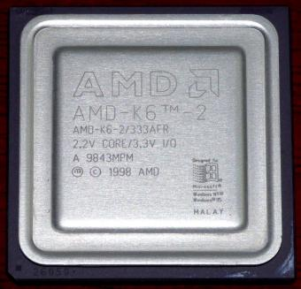 AMD K6-2 333MHz CPU 333AFR 2.2V Core 3.3V I/O Malay 1998