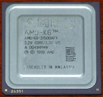 AMD K6-2 500AFX 500MHz CPU 2.2V Core 1998