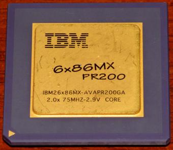 IBM 6x86MX PR200 CPU IBM26x86MX-AVAPR200GA 2x 75MHz 2.9V Core Goldcap USA 1995