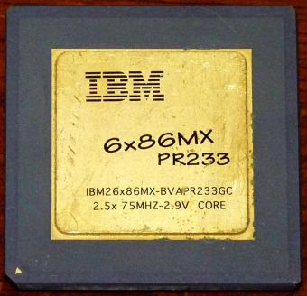 IBM 6x86MX PR233 CPU IBM26x86MX-BVAPR233GC 2.5x75MHz 2.9V Core Goldcap Cyrix Corp. USA 1997