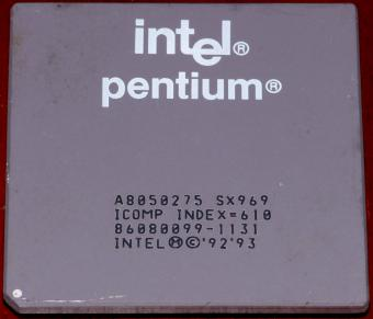 Intel Pentium 75MHz CPU (A8050275) sSpec: SX969 ICOMP Index=610 Malay 1992/93