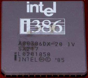 Intel i386 DX 20MHz CPU (A80386DX-20 IV) sSpec: SX217, Malay 1985