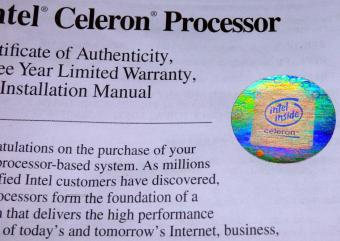 Intel Celeron Processor - Certificate of Authenticity inklusive Intel Hologram
