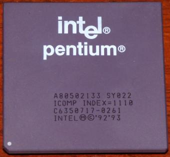 Intel Pentium 133MHz CPU A80502133 sSpec: SY022/SSS i133 Icomp-Index=1110 1993