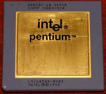 Intel Pentium 60MHz CPU A80501-60 sSpec: SX948 Icomp-Index=510 Malay 1992