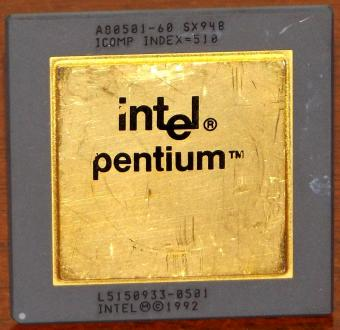 Intel Pentium 60MHz CPU Goldcap A80501-60 sSpec: SX948 Icomp-Index=510 Malay 1992