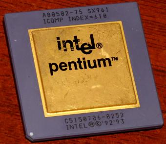 Intel Pentium 75MHz CPU A80502-75 sSpec: SX961 Icomp Index=610 Goldcap 1993
