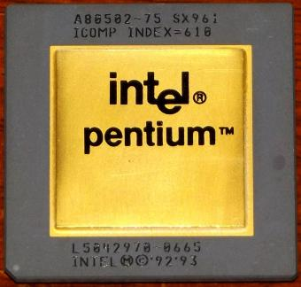 Intel Pentium 75MHz CPU Goldcap A80502-75 sSpec: SX961 Icomp-Index=610 Malay 1993