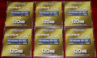 6x 120MB maxell SuperDisk LS-120 Disk OVP/NEU Windows MS-DOS formated