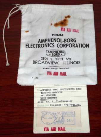 Air Mail Bag from Amphenol-Borg Electronics Corporation, Broadview Illinois / München Engineering Samples