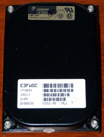Conner CP3044 IDE 40MB HDD, Cirrus Logic CL-SH260-15PC-C Chip 1990