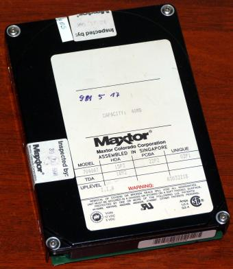 Maxtor Model 7040AT IDE 40MB HDD Siegel: Inspected by Maxtor Colorado Corporation 1991