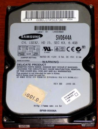 Samsung SV0644A IDE 6.4GB HDD Voyager 3/4/5 adaptec AIC 4421Q/8381Q 1999