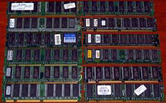 diverse 128MB PC133 RAMs Infineon, Hyundai, workX, NEC, NCP
