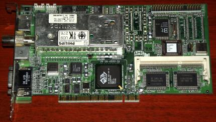 ATI All-in-Wonder Pro 8MB TV Tuner VGA Karte, 3D Rage Pro, PN: 109-41500-00, AIW Philips Tuner, Bt829 BZT PCI, 1997