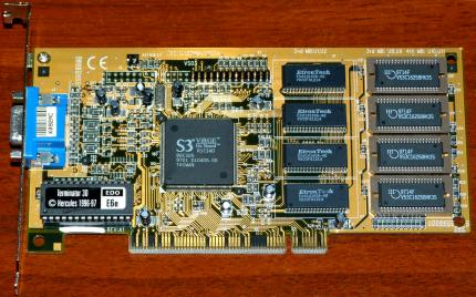Hercules Terminator 3D EDO E6e S3 ViRGE On Board FCC-ID: 127MM-VS03A PCI 1996