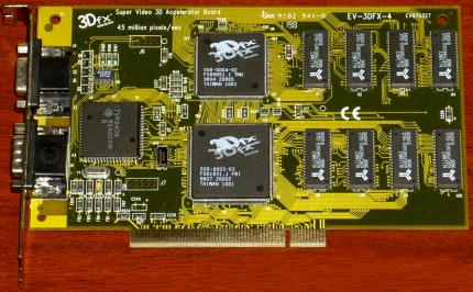 Typhoon 3D Max Super Video 3D Accelerator Board EV-3DFX-4 3Dfx 45 million Pixels/Sec Voodoo1 4MB PCI 1998
