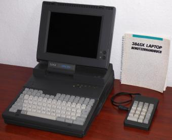 LTD LOGI 386SX 16MHz Laptop 4MB RAM, 80MB HDD, 1.44MB Floppy, 230V Anschluss, Logicraft Products MFG-PTE Model 80, inkl. Keypad & Handbuch/Tasche 1990