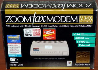 Zoom Fax Modem Model: 2836 V34X plus 33600 Data 14400 Fax with Rockwell, inkl. PaintShopPro SE, EarthLink, 500 Hours Compuserve CDs, USA 1997