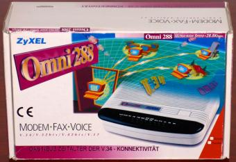 ZyXEL Omni 288S Ultra-High Speed 28.8Kbps V.34 Fax-Voice Modem in OVP BZT A119-931F Taiwan 1995