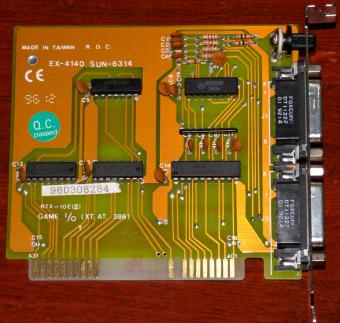 EX-4140 SUN-6314 RTX-10E (II) GAME I/O-Card 2 Gameports 1 Poti XT/AT 386 ISA 1996
