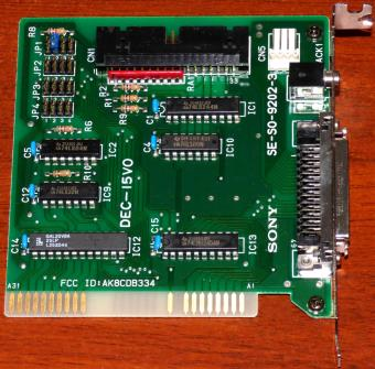Sony CD-ROM Interface Card/Controller SE-S0-9202-3, DEC-15V0 ISA FCC-ID: AK8CDB334 Japan 1992