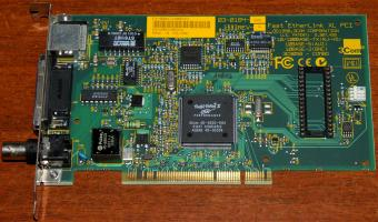 Vintage ISA network card with RTL8019AS chipset and RJ45 ports