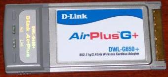 D-Link AirPlusG+ DWL-G650+ 802.11g 54Mbps Wireless Cardbus-Adapter inkl. Treiber-CD