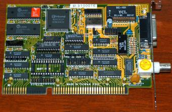 ST. 3100016 Winbond W89C901P, UMC UM6264B-10L, Novell Labs Tested & Approved ISA BNC NIC 1993