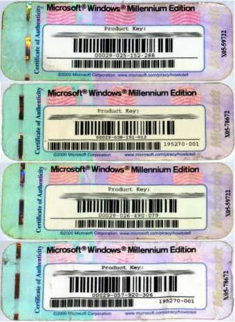 4x Windows Millenium Edition Keys ohne CD 2000