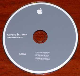 Apple AirPort Extreme Software Installation CD Version: 4.2 2Z691-5417-A 2005