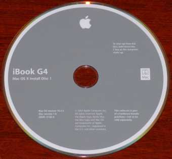 Apple iBook G4 Mac OS X Install Disk Version 10.3.5 PN: 2Z691-5148-A 2001