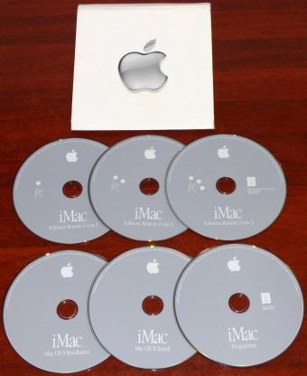 Apple iMac G4 Software Install CDs OS 9 & OS X Version 10.1.4 Programme & 3x Restore CDs Part-No: 2Z691-3738-A 2002