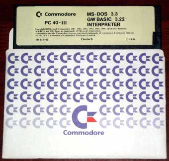 Commodore PC 40-III MS-DOS 3.3 & GW Basic 3.22 Deutsch 1988