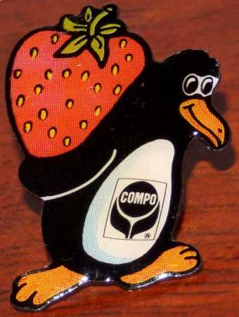 Compo Strawberry/Erdbeere Penguin Tux Ansteckpin