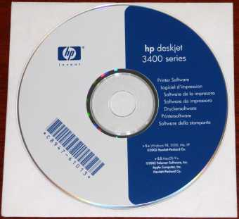 Hewlett Packard hp deskjet 3400 series Printer Software CD-ROM v 5.x Win98/2000/Me/XP MacOS 9.x Palomar Software 2002