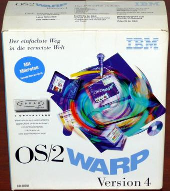 IBM OS/2 Warp Version 4 mit VoiceType Mikrofon, BonsPak, FaxWorks & Lotus Notes Mail, 4CDs PN: 65H0737 OVP 1996