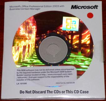 Microsoft Office Professional Edition 2003 with Business Contact Manager OEM Hologramm CDs Part-No: X10-52148 inkl. COA & Product-Key