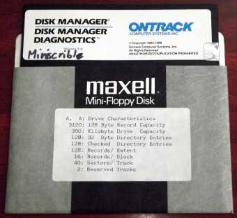 Ontrack Disk Manager Diagnostics Version 3.6 auf 5,25
