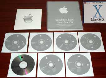 Power Mac G4 Software, Mac OS X Version 10. 2.1 (2 Install CDs), 1 CD Hardware Test, 4 CDs Software Restore Mac OS 9.2.2 und OS X, Apple 2002