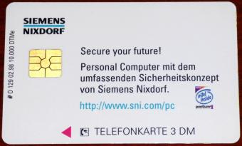 Siemens Nixdorf Secure your future Sicherheitskonzept Top Secret Pentium-II 3DM Telefonkarte Auflage: 10.000 DTMe 1998