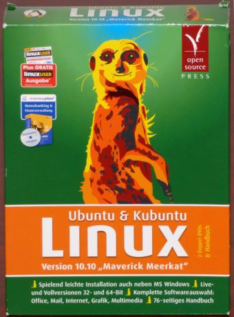 Ubuntu & Kubuntu Linux Version 10.10 (Maverick Meerkat) 2 Doppel DVDs inkl. Handbuch & Bonus-CD moneyplex Homebanking Finanzverwaltung OVP open source Press 2010