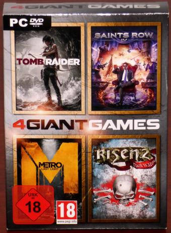 4 Giant Games Saints Row IV, Metro Last Light, Risen 2 Dark Waters, 3 DVDs OVP Deep Silver/Koch Media GmbH 2014