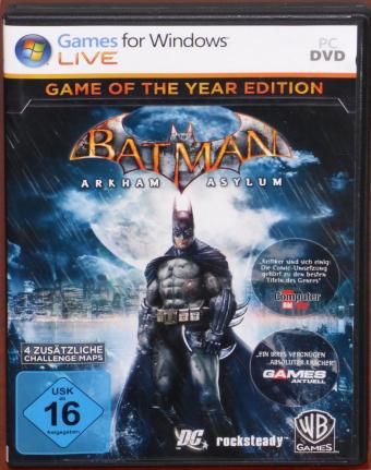 Batman Arkham Asylum - Game of the Year Edition PC-DVD inkl. 4 zusätzliche Challenge-Maps Rocksteady/WB Games 2011